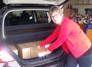 Loading books to deliver to the distributor